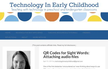 http://technologyinearlychildhood.com/2013/04/15/qr-codes-for-sight-words-attaching-audio-files/