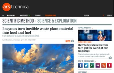 http://arstechnica.com/science/2013/04/enzymes-turn-inedible-waste-plant-material-into-food-and-fuel/