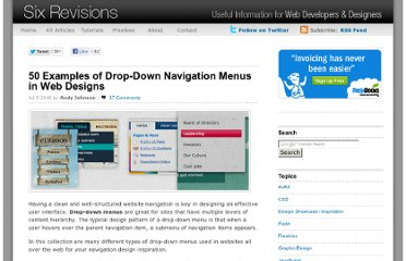 http://sixrevisions.com/design-showcase-inspiration/50-examples-of-drop-down-navigation-menus-in-web-designs/
