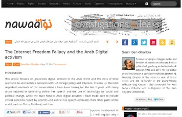 http://nawaat.org/portail/2010/09/17/the-internet-freedom-fallacy-and-the-arab-digital-activism/