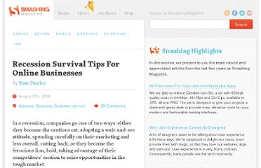 http://www.smashingmagazine.com/2010/08/17/recession-survival-tips-for-web-marketing-and-online-businesses/
