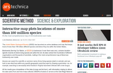 http://arstechnica.com/science/2013/04/interactive-map-plots-locations-of-more-than-100-million-species/