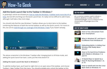 http://www.howtogeek.com/howto/windows-7/add-the-quick-launch-bar-to-the-taskbar-in-windows-7/