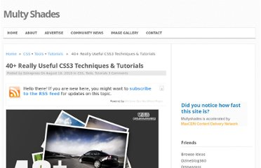 http://www.multyshades.com/2010/08/40-really-useful-css3-techniques-tutorials/