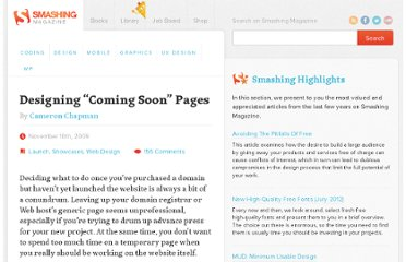 http://www.smashingmagazine.com/2009/11/10/designing-coming-soon-pages/