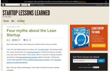 http://www.startuplessonslearned.com/2010/04/five-myths-about-lean-startup.html