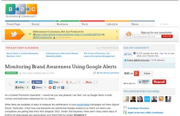 http://www.business2community.com/branding/monitoring-brand-awareness-using-google-alerts-0464897