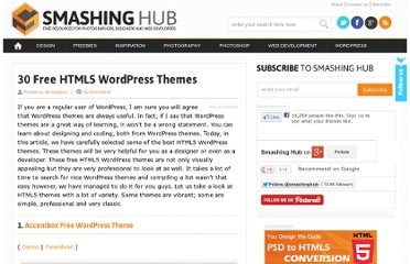 http://smashinghub.com/30-free-html5-wordpress-themes.htm