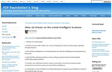 http://blog.p2pfoundation.net/sixty-six-theses-on-the-crowd-intelligent-business/2013/04/22