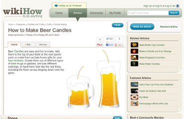 http://www.wikihow.com/Make-Beer-Candles