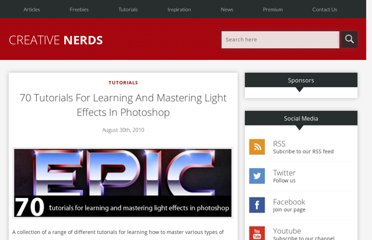 http://creativenerds.co.uk/tutorials/70-tutorials-for-learning-and-mastering-light-effects-in-photoshop/