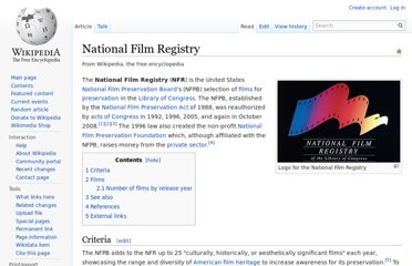 http://en.wikipedia.org/wiki/National_Film_Registry
