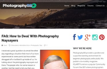 http://www.photographybb.com/photography-stuff/faq-how-to-deal-with-photography-naysayers/