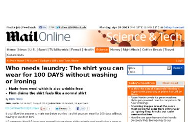 http://www.dailymail.co.uk/sciencetech/article-2316679/The-shirt-wear-100-DAYS-washing-ironing.html