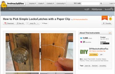 http://www.instructables.com/id/How-to-Pick-Simple-LocksLatches-with-a-Paper-Clip/