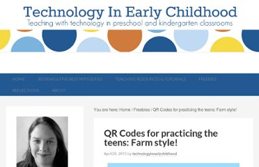 http://technologyinearlychildhood.com/2013/04/29/qr-codes-for-practicing-the-teens-farm-style/