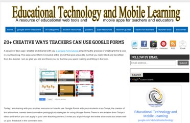 http://www.educatorstechnology.com/2013/05/20-creative-ways-teachers-can-use.html
