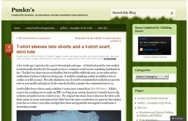 http://punkn.wordpress.com/2009/07/03/t-shirt-sleeves-into-shorts-and-a-t-shirt-scarf-mini-tute/