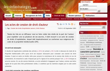 http://www.les-infostrateges.com/article/03091/les-actes-de-cession-de-droit-d-auteur-en-documentation