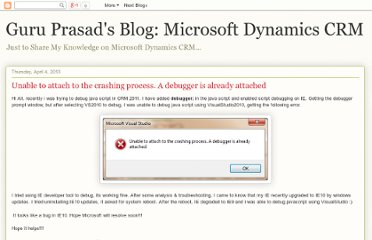 http://guruprasadcrm.blogspot.com/2013/04/unable-to-attach-to-crashing-process.html