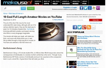 http://www.makeuseof.com/tag/10-cool-amateur-movies-on-youtube/