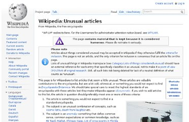 http://en.wikipedia.org/wiki/Wikipedia:Unusual_articles