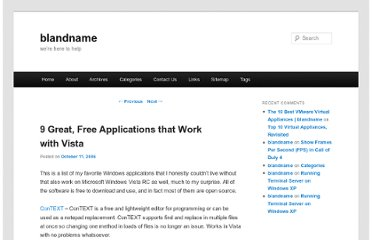 http://blandname.com/2006/10/11/9-great-free-applications-that-work-with-vista/