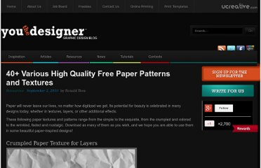 http://www.youthedesigner.com/2010/09/02/40-plus-various-high-quality-free-paper-patterns-and-textures/