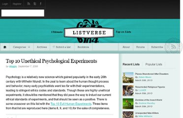 http://listverse.com/2008/09/07/top-10-unethical-psychological-experiments/