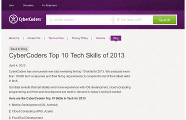 http://blog.cybercoders.com/post/49262294210/cybercoders-top-10-tech-skills-of-2013