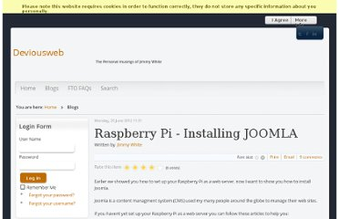 http://www.deviousweb.com/index.php/blogs/item/10-raspberry-pi-installing-joomla