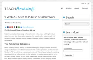 http://teachamazing.com/9-web-2-0-sites-to-publish-student-work/