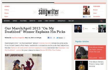 http://www.americansongwriter.com/2013/05/marchapril-2013-on-my-deathbed-winner-explains-his-picks/