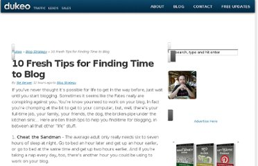 http://dukeo.com/10-fresh-tips-for-finding-time-to-blog/