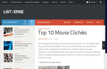 http://listverse.com/2007/08/16/top-10-movie-cliches/