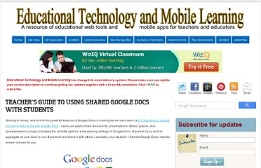 http://www.educatorstechnology.com/2013/05/teachers-guide-to-using-shared-google.html