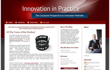 http://www.innovationinpractice.com/innovation_in_practice/2010/09/the-vocie-of-the-product.html