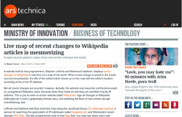http://arstechnica.com/business/2013/05/live-map-of-recent-changes-to-wikipedia-articles-is-mesmerizing/