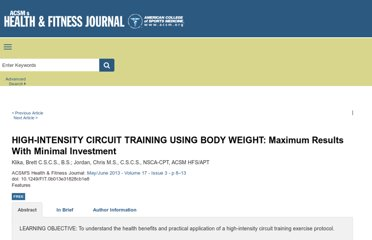 http://journals.lww.com/acsm-healthfitness/Fulltext/2013/05000/HIGH_INTENSITY_CIRCUIT_TRAINING_USING_BODY_WEIGHT_.5.aspx