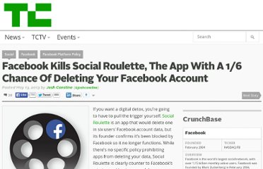 http://techcrunch.com/2013/05/13/social-roulette-deletes-your-facebook-account/