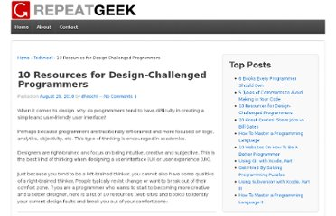 http://repeatgeek.com/technical/10-resources-for-design-challenged-programmers/