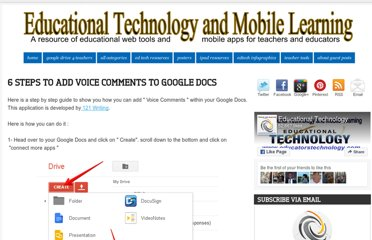 http://www.educatorstechnology.com/2013/05/6-steps-to-add-voice-comments-to-google.html