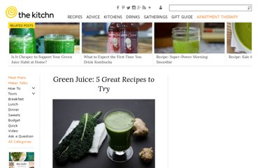 http://www.thekitchn.com/green-juice-5-great-recipes-to-try-187184