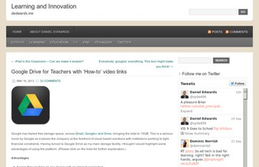 http://dedwards.me/2013/05/16/google-drive-for-teachers-with-how-to-video-links/