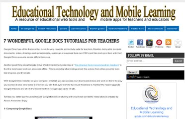 http://www.educatorstechnology.com/2013/05/7-wonderful-google-docs-tutorials-for.html