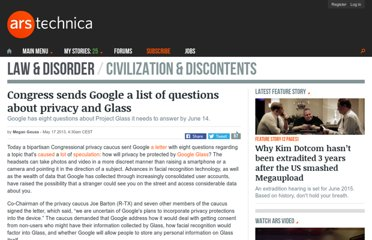 http://arstechnica.com/tech-policy/2013/05/congress-sends-google-a-list-of-questions-about-privacy-and-glass/
