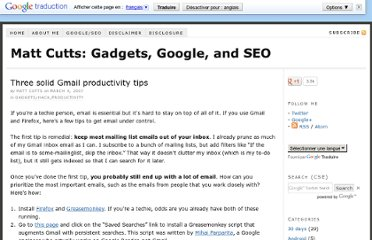 http://www.mattcutts.com/blog/three-solid-gmail-productivity-tips/