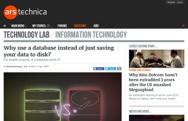 http://arstechnica.com/information-technology/2013/05/why-use-a-database-instead-of-just-saving-your-data-to-disk/