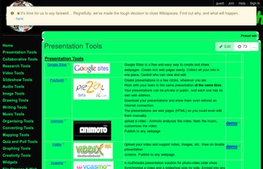 http://cooltoolsforschools.wikispaces.com/Presentation+Tools