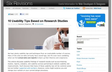 http://sixrevisions.com/usabilityaccessibility/10-usability-tips-based-on-research-studies/